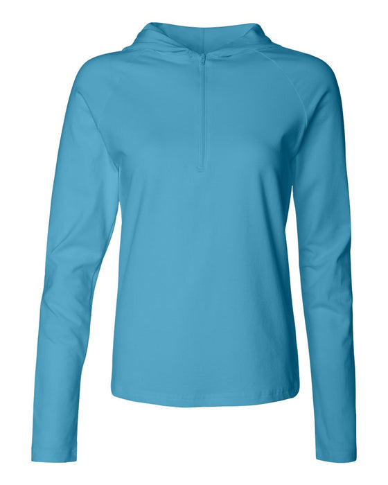875 - Women's Cotton Spandex Half-Zip Hooded Pullover