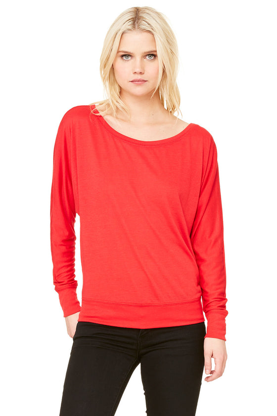 8850 - Women's Flowy Long Sleeve Off Shoulder Tee