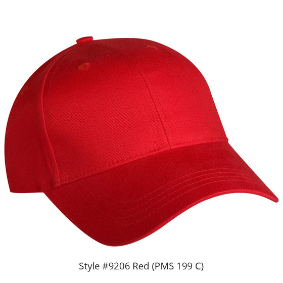 9200S Structured Brushed Twill Cap, Fabric or Velcro Closure