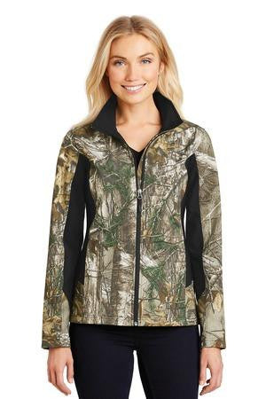 L318C - Ladies Camouflage Colorblock Soft Shell