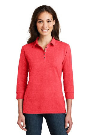 L578 - Ladies 3/4-Sleeve Meridian Cotton Blend Polo