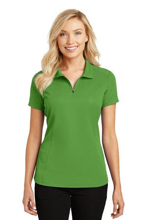 L580 - Ladies Pinpoint Mesh Zip Polo