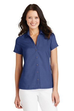 L662 - Ladies Textured Camp Shirt
