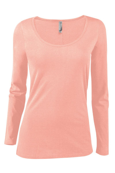 P507C - Ladies CVC Long Sleeve Scoop Neck Tee