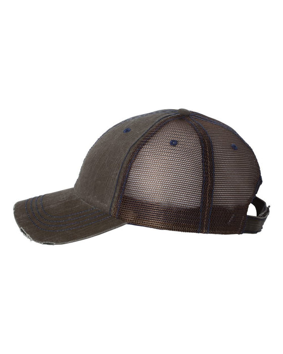 6990 - Herringbone Unstructured Trucker Cap