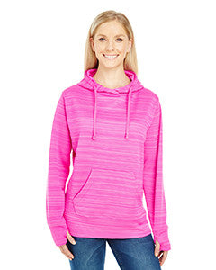 JA8662 - J America Ladies' Striped Poly Fleece Lapover Hood