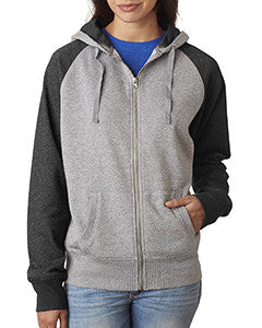JA8868 - J America Ladies' Glitter French Terry Contrast Full-Zip Hood