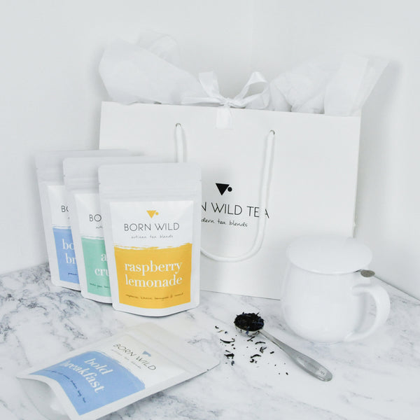 CREATE YOUR OWN GIFT BAG - 4 TEAS & CURVE MUG INFUSER