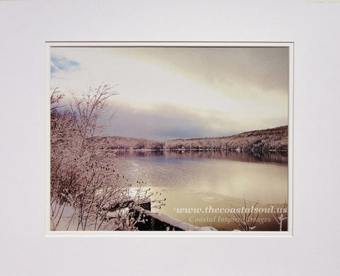 Archival Photographic Print Nor'easter Winter Lake Scene Matted Print
