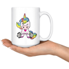 White 15oz Mug - Unicorn Weightlifting Mug