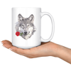 White 15oz Mug - Wolf Rose