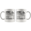 White 11oz Mug - Aries Nutrition Facts Mug