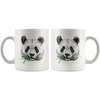 White 11oz Mug - Panda Face Eating Bamboo