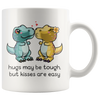 White 11oz Mug - Dinosaur Hugs May Be Tough