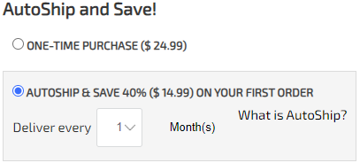 AutoShip and save select on product page
