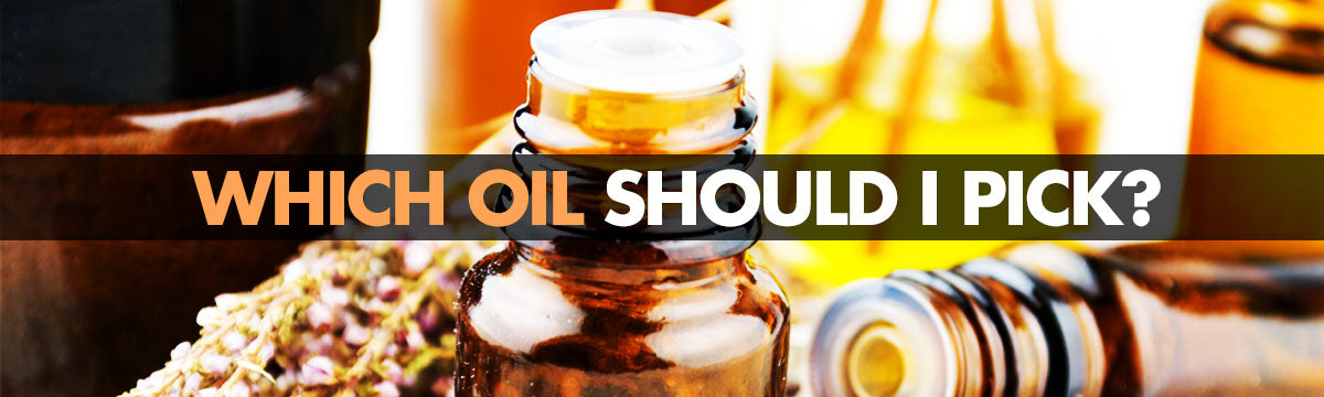 Which oil? logo header in text on a background of fish oil