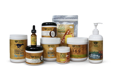 Full line of Natural Doggie CBD oil for dogs products