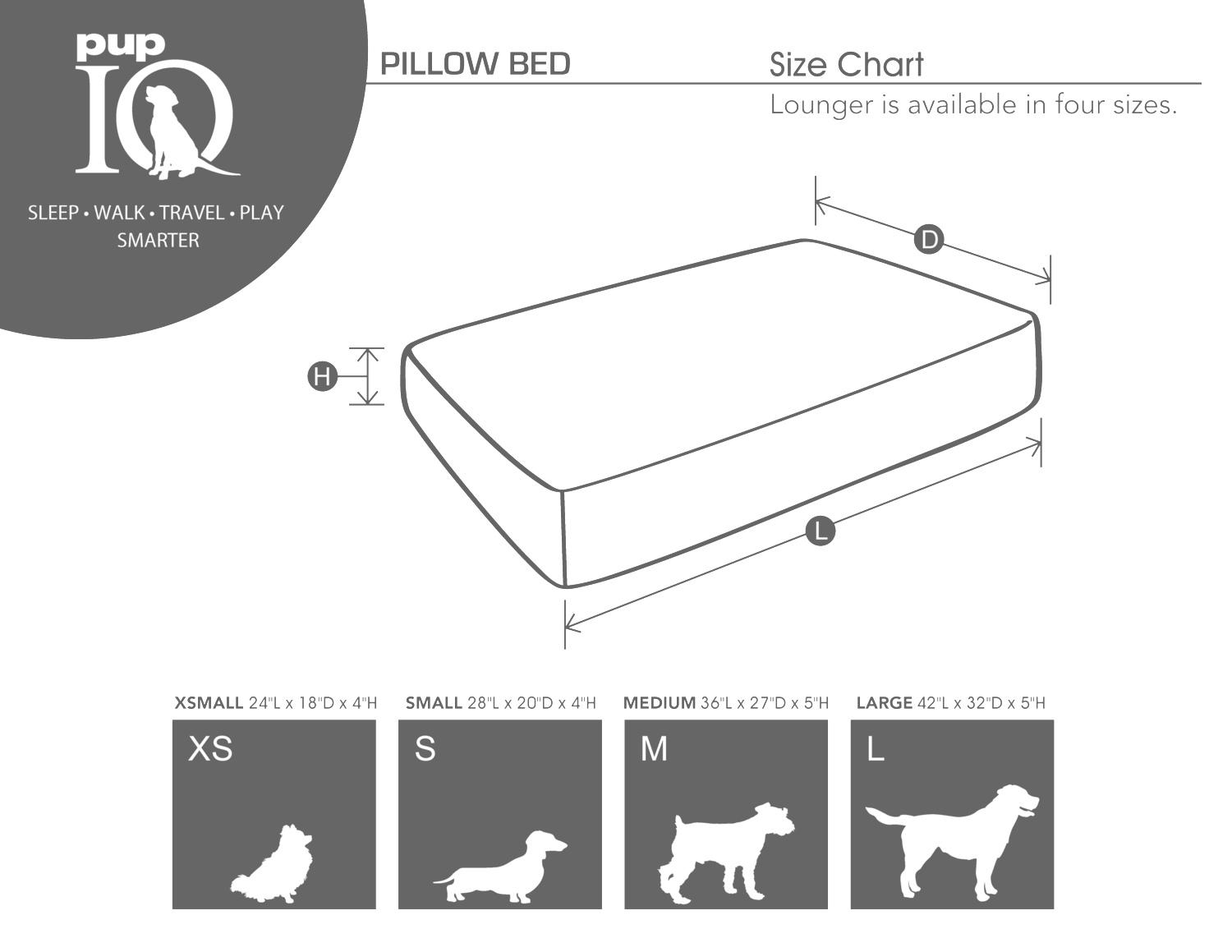 luxe pup pillow bed size chart