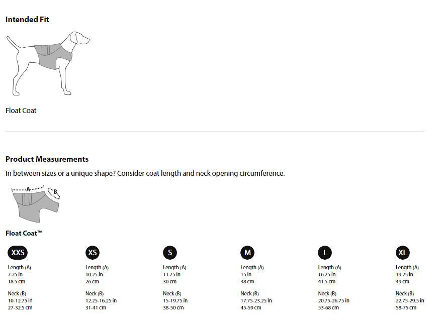 Ruffwear Size Guidelines Additional Information For SitStay Ruffwear K-9 Float Coat