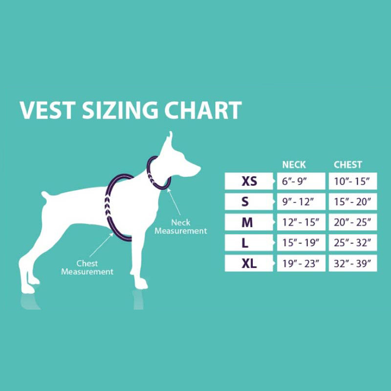 Calmer Canine Treatment System Sizing Chart