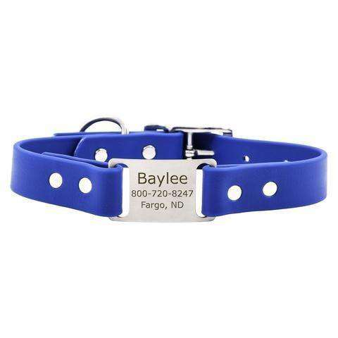 Blue dogIDs Waterproof Soft Grip ScruffTag Personalized Dog Collars - SitStay