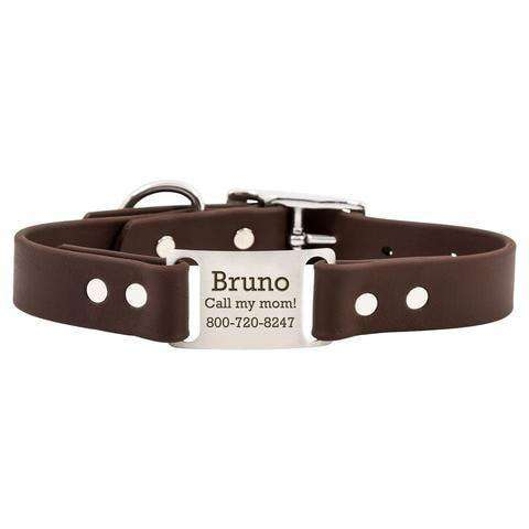 Brown dogIDs Waterproof Soft Grip ScruffTag Personalized Dog Collars