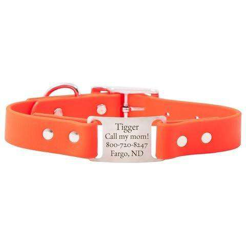 Blaze Orange dogIDs Waterproof Soft Grip ScruffTag Personalized Dog Collars
