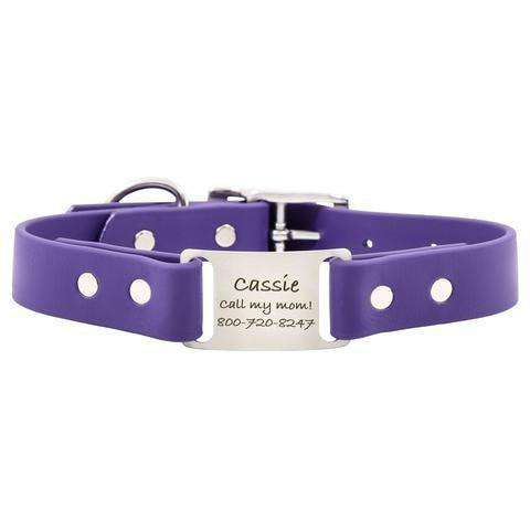 Purple dogIDs Waterproof Soft Grip ScruffTag Personalized Dog Collars