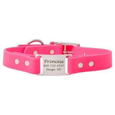 Pink dogIDs Waterproof Soft Grip ScruffTag Personalized Dog Collars - SitStay