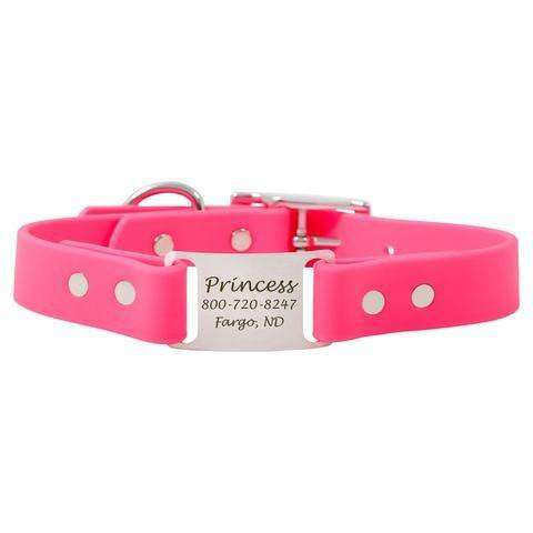Pink dogIDs Waterproof Soft Grip ScruffTag Personalized Dog Collars