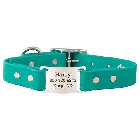 Teal dogIDs Waterproof Soft Grip ScruffTag Personalized Dog Collars - SitStay