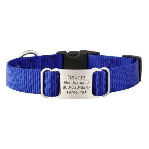 Blue dogIDs Nylon ScruffTag Personalized Dog Collars - SitStay