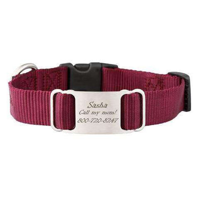 Burgundy dogIDs Nylon ScruffTag Personalized Dog Collars - SitStay
