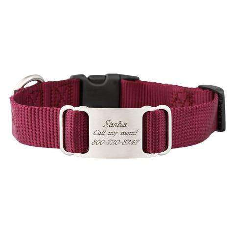 Burgundy dogIDs Nylon ScruffTag Personalized Dog Collars