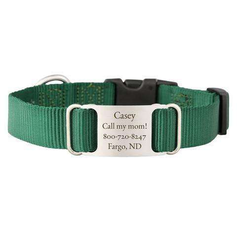Hunter Green dogIDs Nylon ScruffTag Personalized Dog Collars