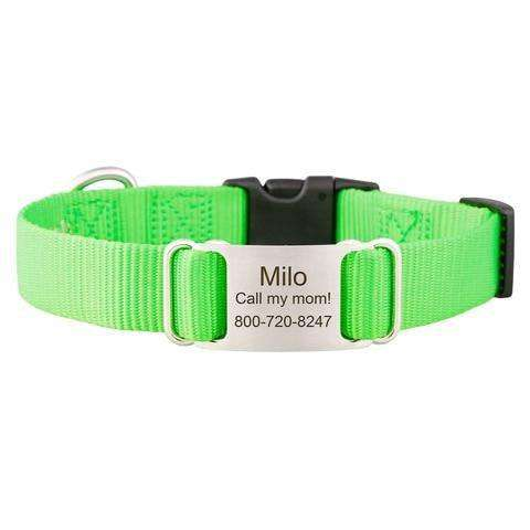 Lime Green dogIDs Nylon ScruffTag Personalized Dog Collars