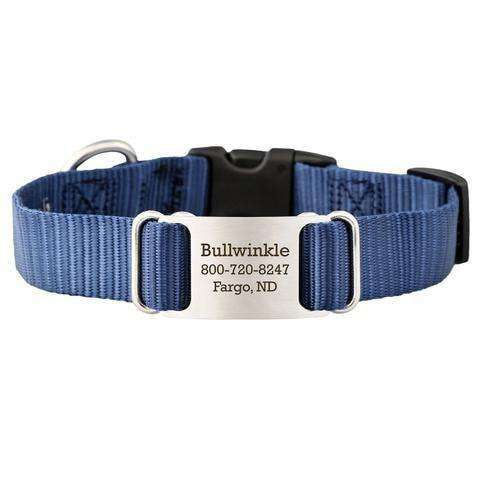 Navy Blue dogIDs Nylon ScruffTag Personalized Dog Collars - SitStay