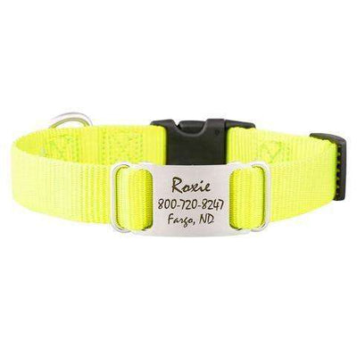 Neon Yellow dogIDs Nylon ScruffTag Personalized Dog Collars - SitStay
