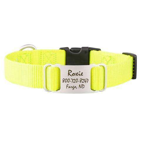Neon Yellow dogIDs Nylon ScruffTag Personalized Dog Collars