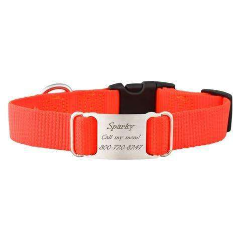 Blaze Orange dogIDs Nylon ScruffTag Personalized Dog Collars