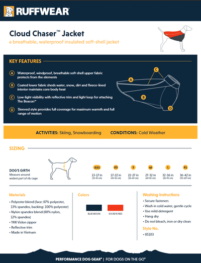 cloud chaser size guide