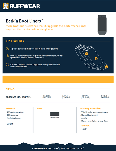 bark'n boot liner product sheet