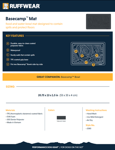 basecamp mat product sheet