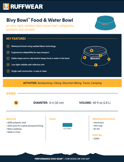 bivy bowl product sheet