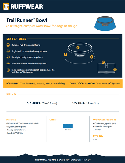 Trail Runner Bowl product sheet