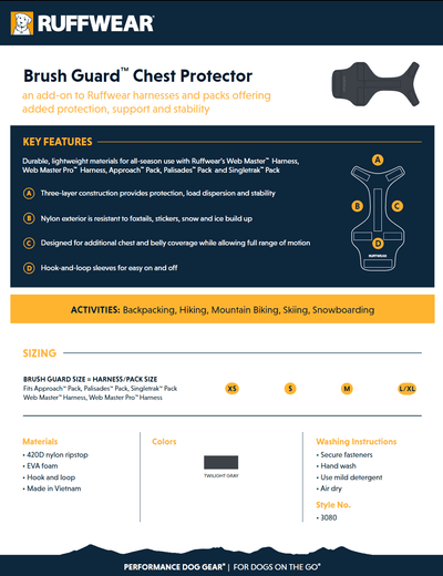 Brush Guard product sheet