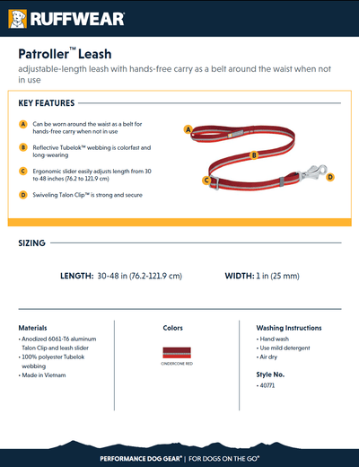 Patroller Leash product sheet
