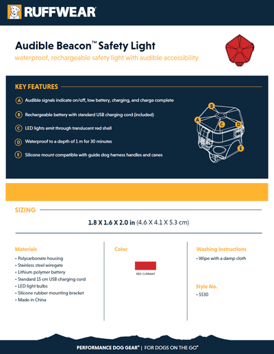 Audible Beacon Safety Light product sheet