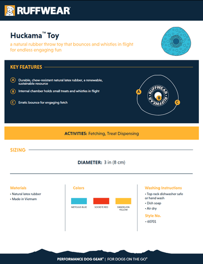 Huckama Rubber Throw Toy product sheet