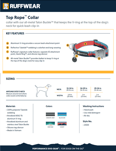 top rope collar product sheet